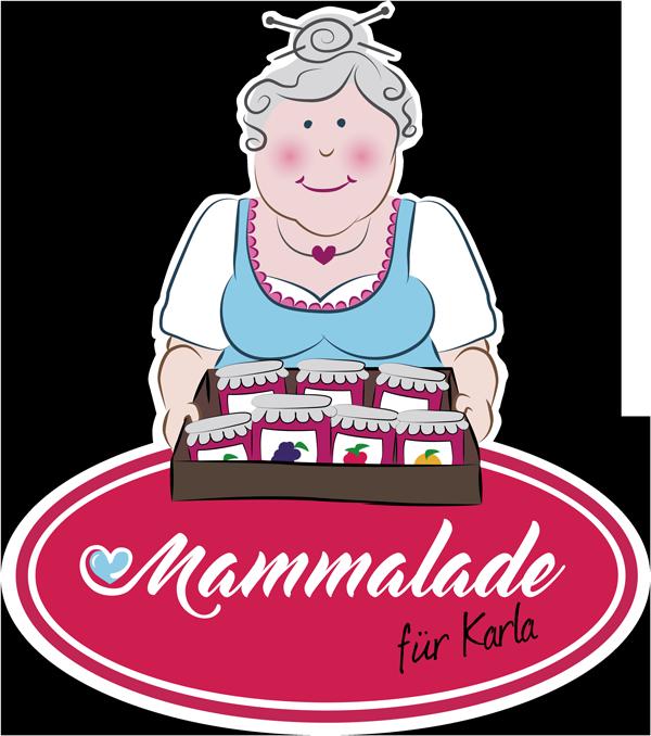 Logo der Organisation Mammalade für Karla zeigt eine alte Frau mit einem Bauchladen mit Marmeladen Gläsern bestückt.